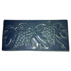 Large Pewabic Detroit Art Pottery Wall Plaque Tile Grape Leaf Motif Mission Style