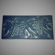 Large Pewabic Detroit Art Pottery Wall Plaque Tile Grape Leaf Motif Mission Style