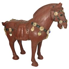 Vintage Chinese Cinnabar Red Lacquer Jeweled Horse Sculpture Tang Style Table Top