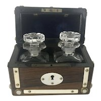 Antique French Rosewood Perfume Scent Bottle Casket W Mother Of Pearl MOP