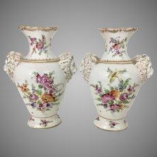 Pr Antique Dresden German Porcelain Vases Lion Head Mask Handles Floral Hand Painted
