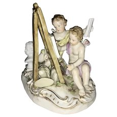 Meissen Porcelain Allegorical Group Cherubs Painting Cupids Germany