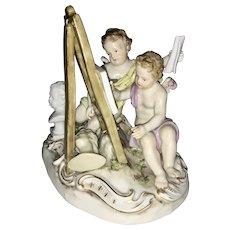 Meissen Porcelain Allegorical Group Cherubs Painting Cupids Germany