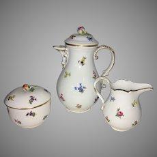 Vintage Meissen Porcelain Teapot Sugar Bowl Creamer Scattered Flowers Germany