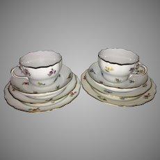 Pr Vintage Meissen Porcelain Trios Scattered Flowers Tea Cup Saucer Dessert Plate Germany