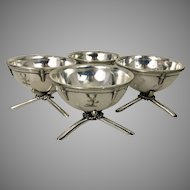 Set 4 Silver Plate Nautical Salt Cellars Georgian Style
