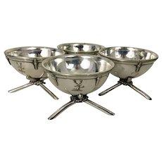 Set 4 Silver Plate Nautical Salt Cellars Georgian Style