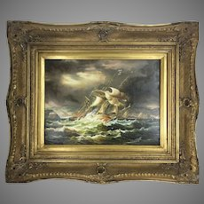 Antique Oil Painting Clipper Man O War Sea Ship In Storm Gilt Frame On Board