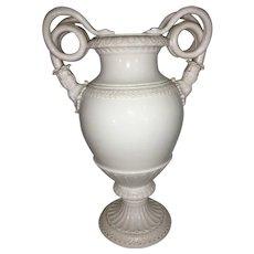 Antique Meissen Porcelain Large Snake Handle Urn Vase All White
