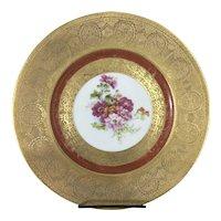 8 Hutschenreuther Royal Bavarian Gilt Porcelain Dinner Plates Floral Flowers