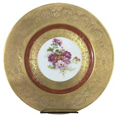 8 Hutschenreuther Royal Bavarian Gilt Porcelain Dinner Plates Floral Flowers
