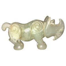Vintage Chinese Jade Hard Stone Carved Rhino Figurine Scholar Rhinoceros