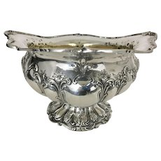 Large Heavy Gorham Chantilly Sterling Silver Center Bowl Repousse Floral Scrolls