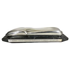 Emmanuel Zurini French Sterling Silver Clad Streamline Car Trophy Sculpture On Marble Auto Race