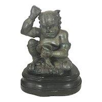 Japanese Bronze Sculpture Oni Kimono Seated W Mirror Meiji Demon Devil