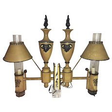 Pr Old Neoclassical Yellow Toleware Yellow Metal Wall Sconce Lamps Electrified