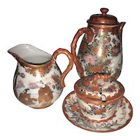 Antique Japanese Kutani Porcelain Tea Set Meji Pot Sugar Creamer