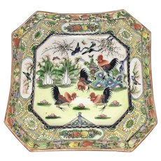 Old Chinese Porcelain Octagonal Dish Roosters 1000 Flowers Cockerel Enameled