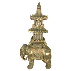 Old Massive Japanese Satsuma Moriage Elephant Pagoda Censer Sculpture