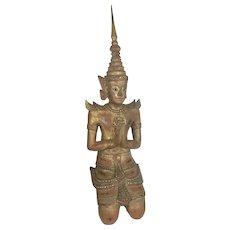 Large Vintage Thai Teppanom Angel Buddha Gilt Wood Glass Jeweled Temple Asian