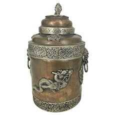 Antique Copper Silver Mounted Anglo Indian Tea Caddy Box Dragon Handles Hindu Asian