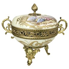 Sevres French Gilt Ormolu Bronze Porcelain Lidded Potpourri Trinket Box Hand Painted