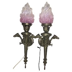 Pr French Bronze Ram Head Wall Light Sconces W Opalescent Glass Cranberry Flame Shades