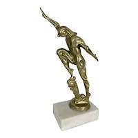 Art Deco Futurism Style Bronze Abstract Stylized Sculpture Nude Form Marble Base