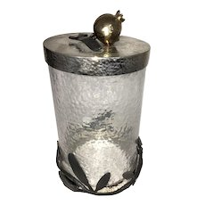 Michael Aram Olive Branch  Canister Jar Branch Pomegranate Canister Metal & Glass