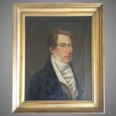 18th 19th Century Portrait Oil Canvas Painting Handsome Young Man English School