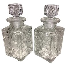 Pair 1930's Vintage Fostoria Glass Whiskey Liquor Decanter Gin Rye Etched