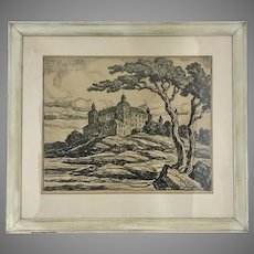 1931 Signed Birger Sandzen Linocut Lithograph Lecko Castle Framed