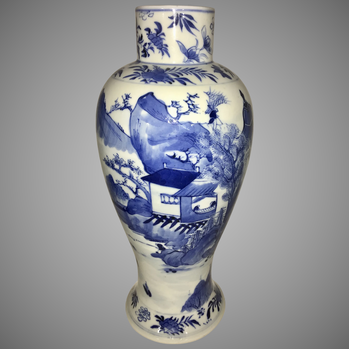 Antique Blue And White Porcelain Vases Image