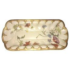 1890 Royal Worcester Blush Ivory Gilt Floral Oblong Dish Celery Bowl England
