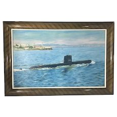Vintage Oil Painting Framed Submarine USS Swordfish From Naval Military Estate San Francisco Bay