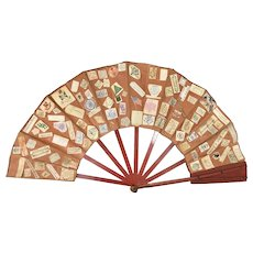 Silk Fan W Cut Signatures Of President William McKinley Boyd Vincent Colleges Fraternities Political Religious
