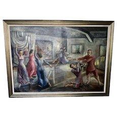 1936 Olive Nuhfer Oil Painting On Canvas Ballet Dancers WPA Mural Artist Muralist