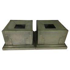 2 Zahner Mfg Co Art Deco Metal Planter Boxes Architectural Skyscraper Edges W Inserts