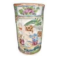 Chinese Porcelain Brush Pot Vase Rose Canton Medallion Export Scholar Raised Relief