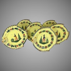 6 Henriot Quimper Pottery Fish Plates Country French Soleil Yellow Breton Man Woman