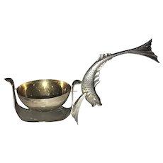 Vintage Russian Tea Strainer 875 Silver Fish Handle USSR Figural