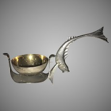 Vintage Russian Tea Strainer 875 Silver Fish Handle USSR Figural