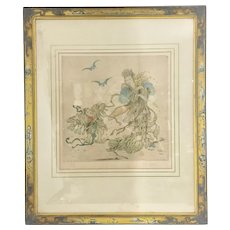 Vintage Elyse Ashe Lord Chinoiserie Dry Point Print Litho Signed Awesome Asian Frame Woman W Boy Bats