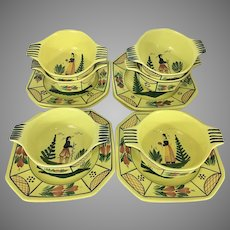 6 HB Quimper French Soleil Yellow Cereal Fruit Bowls W Salad /Under Plates Breton Man Woman Lugg