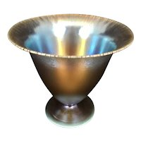 German WMF Ikora Art Glass Vase Compote Iridescent Onion Skin