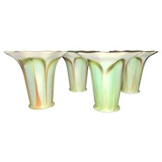 4 Quezal Signed Art Glass Lamp Trumpet Shades Pulled Feather Iridescent Calcite Arts & Crafts Era
