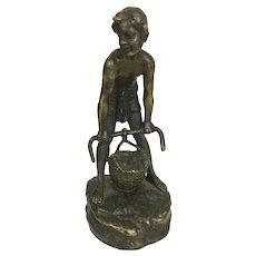 Andor Andreas Ruff  (1885-1951) Bronze Sculpture Young Boy W Basket Viennese Austrian Bronze Artist