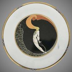 1990 Etrte Porcelain Collector Plate L'AMOUR Woman Suspended SevenArts Ltd Mikasa Art Deco Style