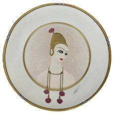 Erte Porcelain Plate Charger Carnations 1990 SevenArts Mikasa Art Deco Style Woman