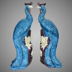 Pr Old Chinese Export Porcelain Turquoise Blue Phoenix Birds Statues Figures